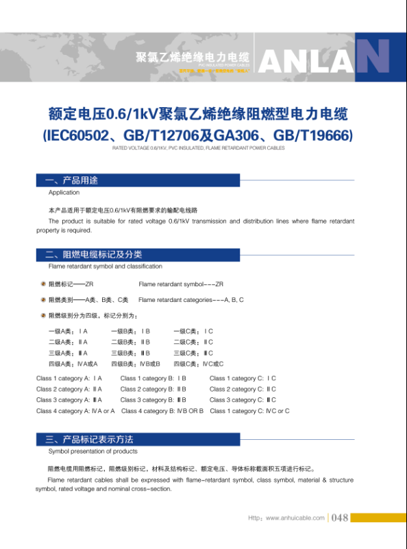 额定电压0.6~1kV聚氯乙烯绝缘阻燃型电力万博体育APP官网下载